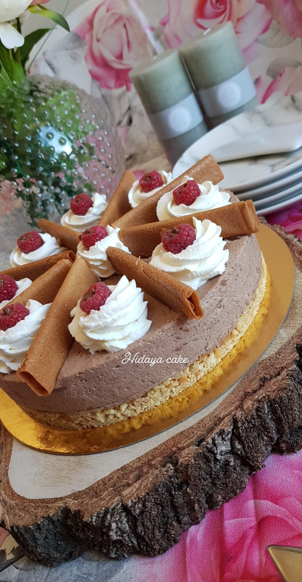 Cheesecake au chocolat au lait et aux framboises